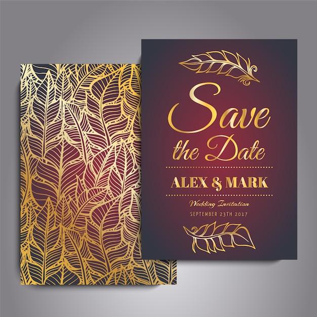 Красная и золотая свадебная открытка Бесплатные векторы