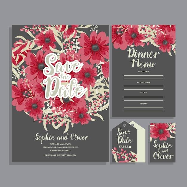 Свадебная пригласительная открытка с цветами. шаблон. векторная иллюстрация Бесплатные векторы