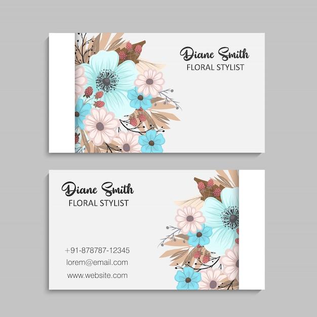 美しい花柄のデザイン商務カード。ベクトルイラスト 無料ベクター