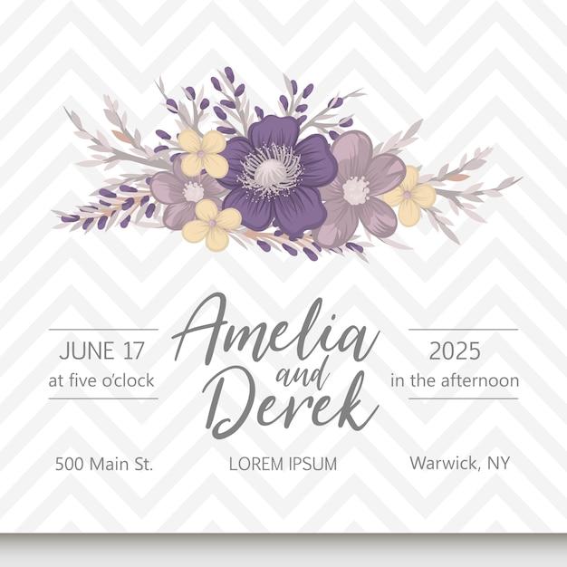 花の結婚式の招待状エレガントな招待状カードベクトル 無料ベクター