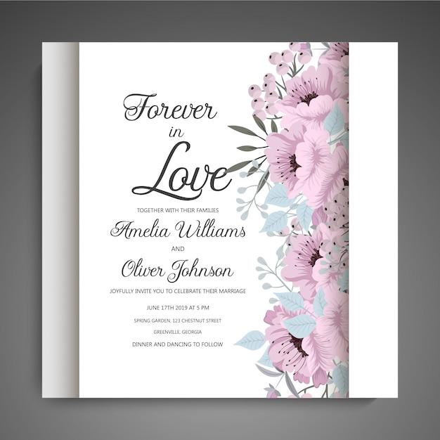 Цветочные свадебные приглашения элегантный пригласительный билет вектор Бесплатные векторы