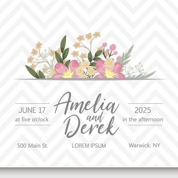 Свадебная пригласительная открытка с цветами. Бесплатные векторы