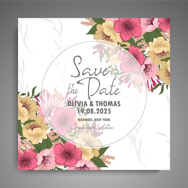 花と結婚式の招待カードスイート。 無料ベクター