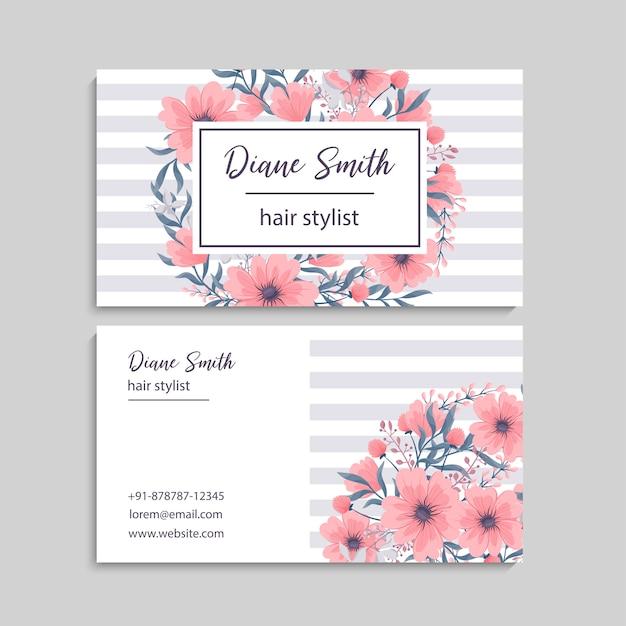 Визитная карточка с красивыми цветами. Бесплатные векторы