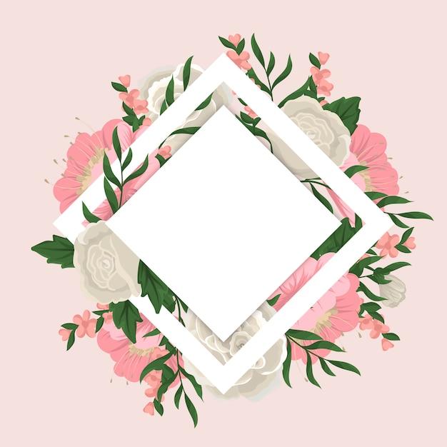 Цветочная рамка с красочным цветком. Бесплатные векторы