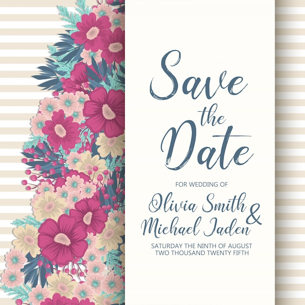 Набор свадебных пригласительных билетов с цветами Бесплатные векторы