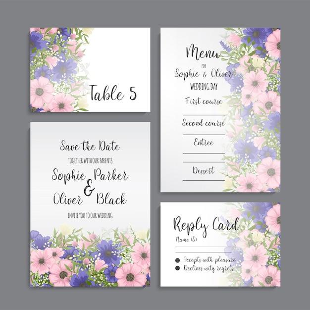 花と結婚式の招待カードスイート。テンプレート。ベクトルイラスト 無料ベクター