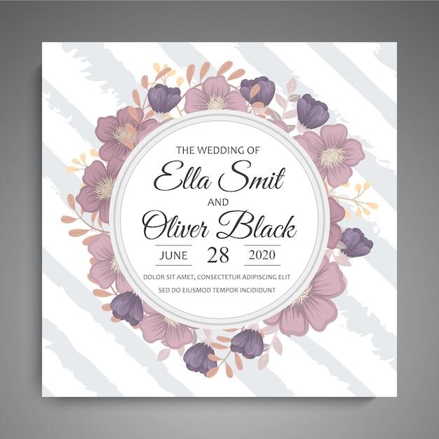 花と結婚式の招待カードスイートテンプレートベクトルイラスト