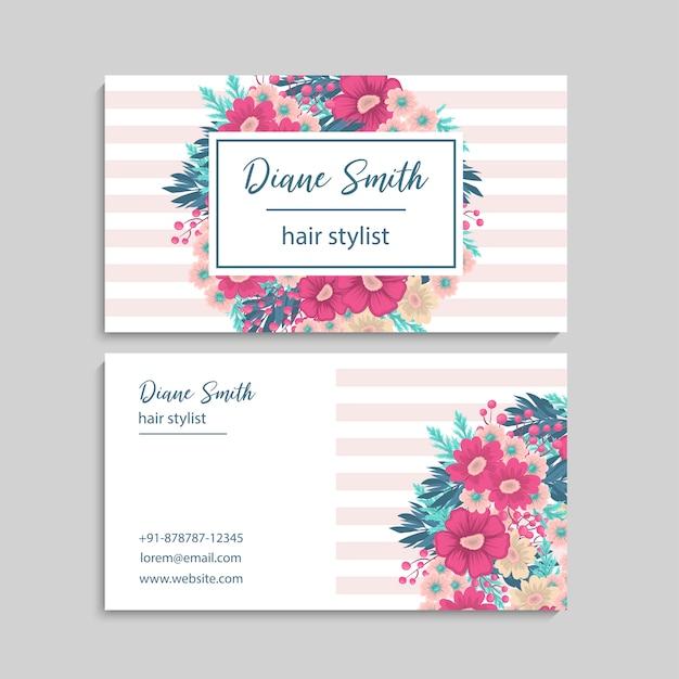 Визитная карточка с красивыми цветами. шаблон Бесплатные векторы