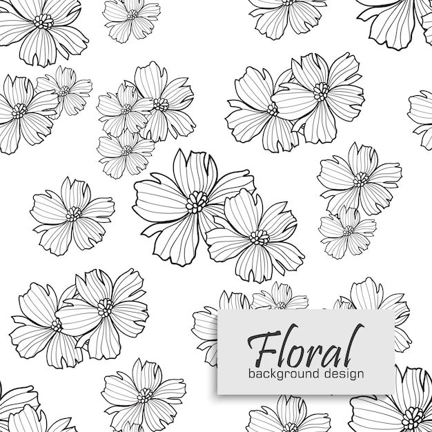 Модный бесшовный цветочный узор в векторной иллюстрации Premium векторы