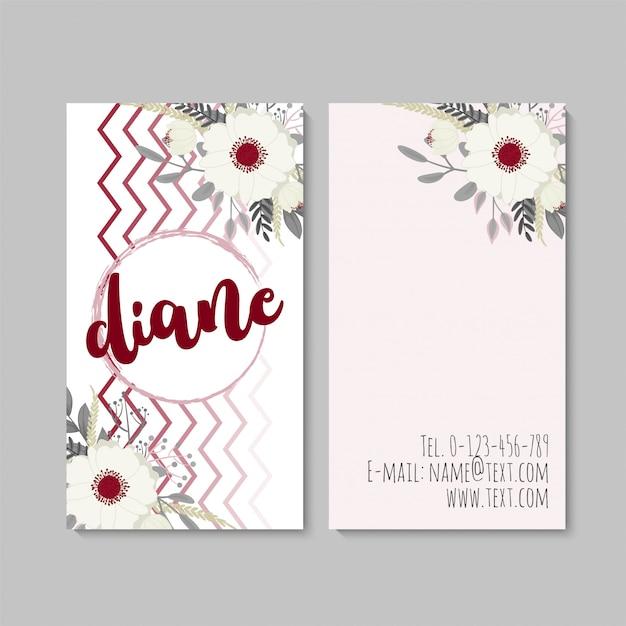 Вертикальная визитная карточка с красивыми цветами. шаблон Бесплатные векторы