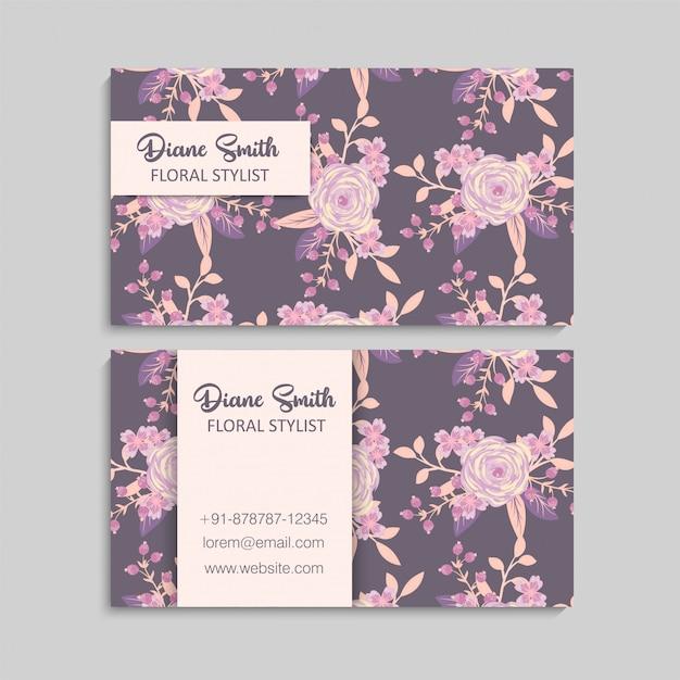 花の訪問カード 無料ベクター