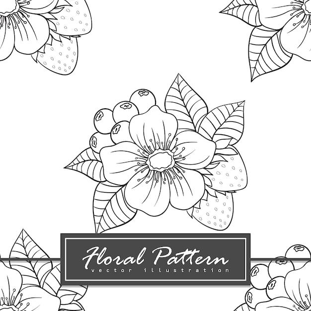 Модный бесшовный цветочный узор каракули стиль иллюстрации Бесплатные векторы