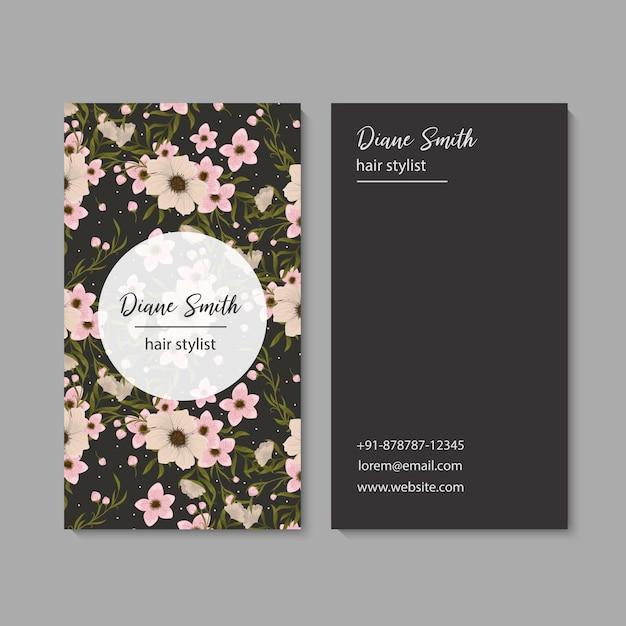 名刺テンプレート、花の背景パターン 無料ベクター