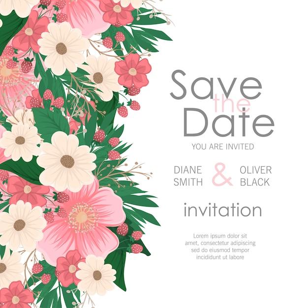 Приглашение на свадьбу с цветами Бесплатные векторы