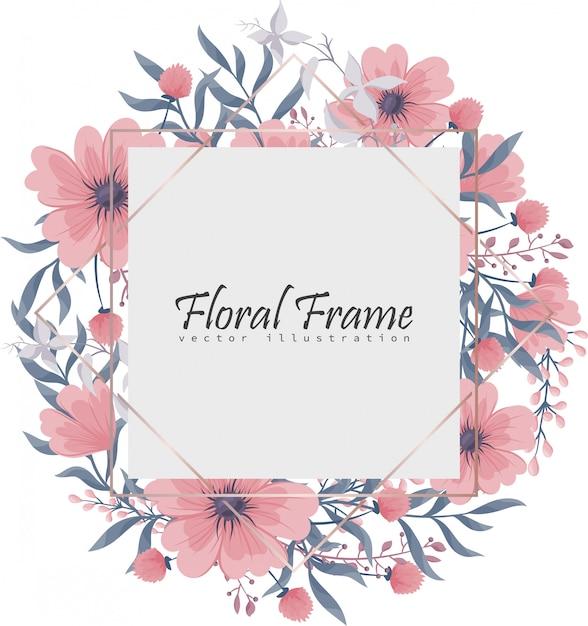 ピンクとブルーの花と花のフレーム。 無料ベクター