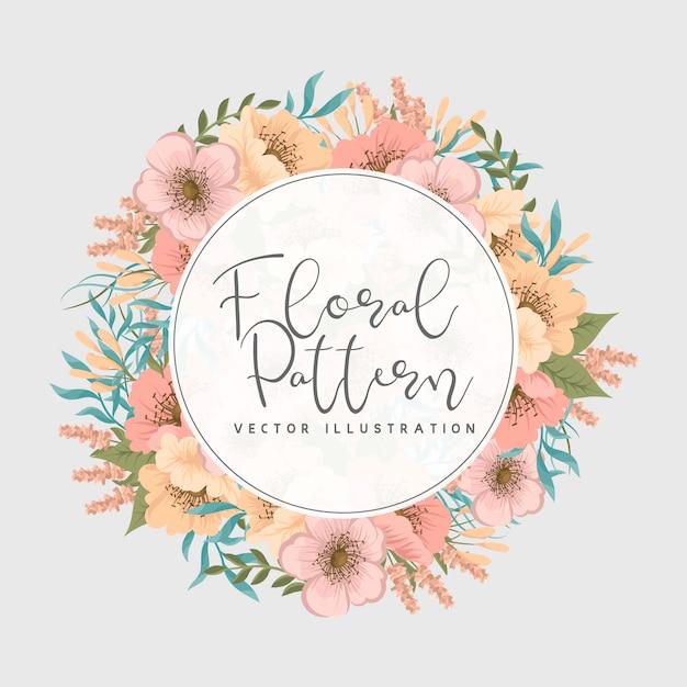 花と花のフレーム。花輪 無料ベクター