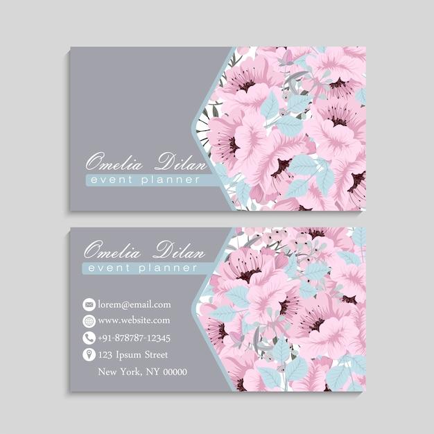 美しいピンク色の花と名刺 無料ベクター