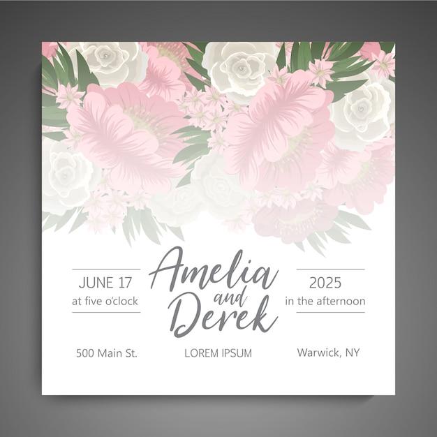 かわいい花の結婚式の招待状 無料ベクター