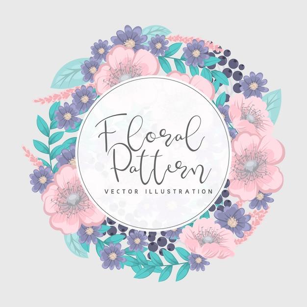 花の花輪とグリーティングカード 無料ベクター