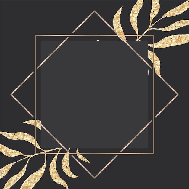 熱帯の葉のフレームと高級ゴールドと暗いグリーティングカード 無料ベクター