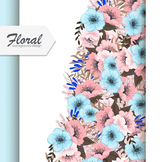 花、ピンク、水色の花のグリーティングカード 無料ベクター