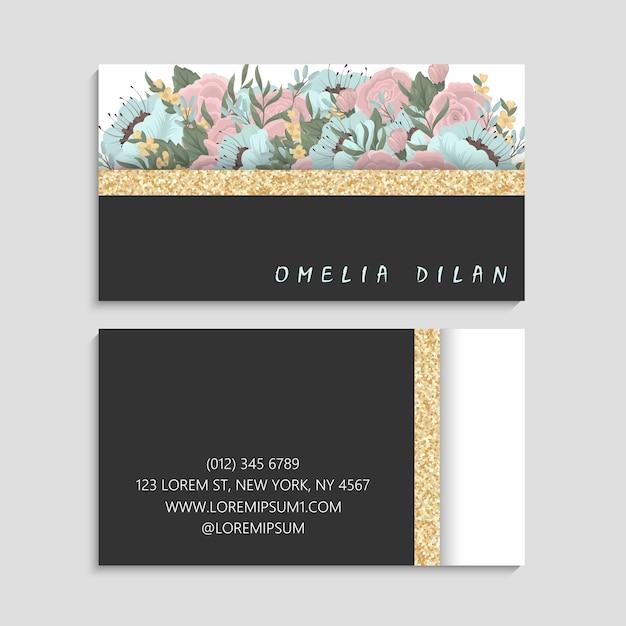 Темная визитная карточка с красивыми цветами. шаблон Бесплатные векторы