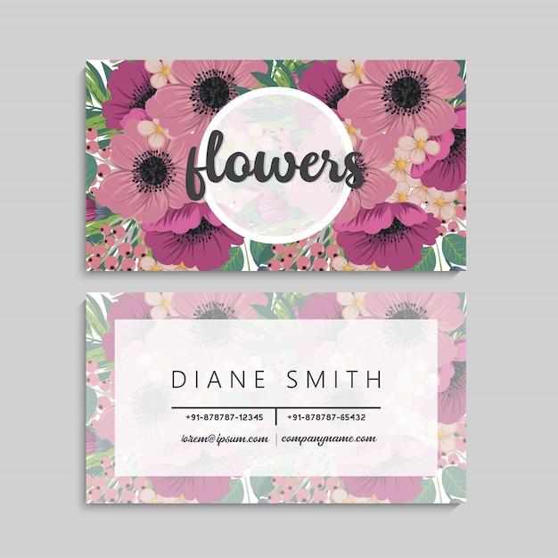 美しい花の名刺。テンプレート 無料ベクター