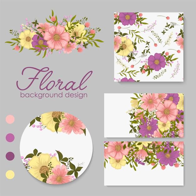 花、葉を持つカードのセット。結婚式の飾り。 無料ベクター