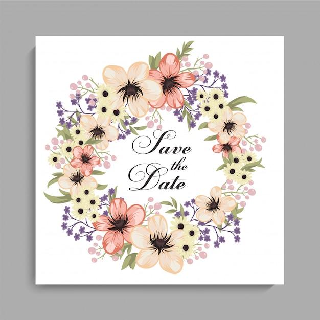 Цветочный шаблон свадебной открытки с желтым венком Бесплатные векторы