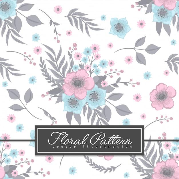 水色の花の背景のシームレスパターン 無料ベクター