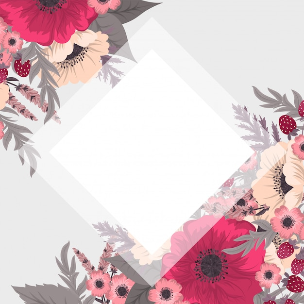 かわいい花のボーダー 無料ベクター
