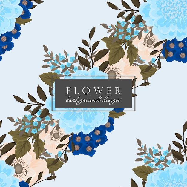 青い花の背景のシームレスパターン 無料ベクター