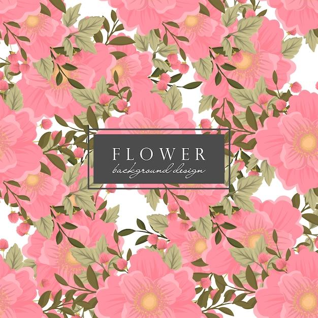 ピンクの花の背景のシームレスパターン 無料ベクター