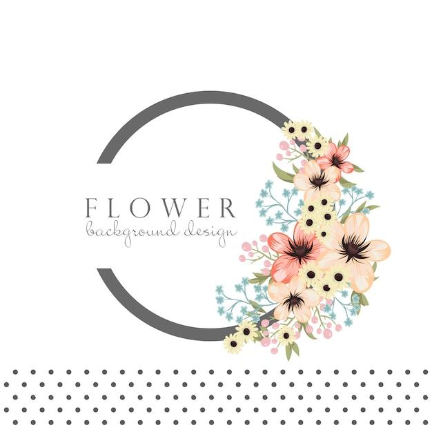 花とサークルフレーム 無料ベクター