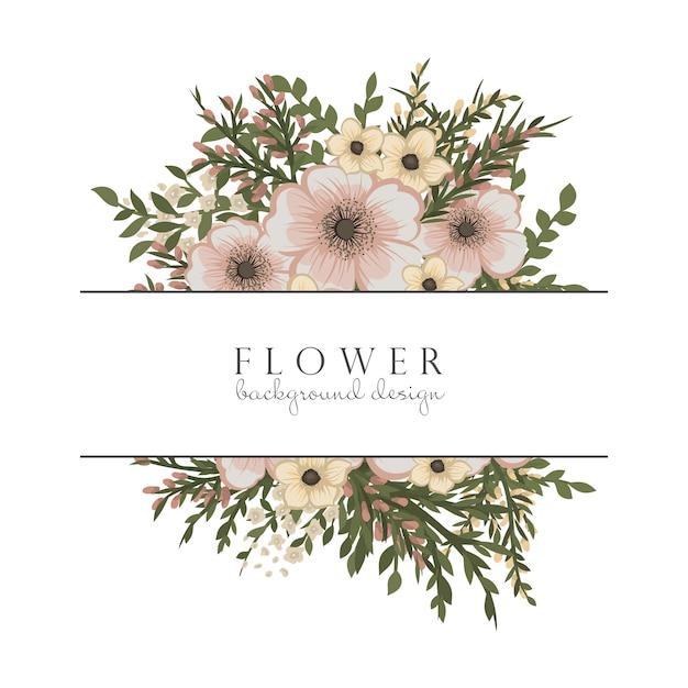 ベージュの花と花のボーダー 無料ベクター