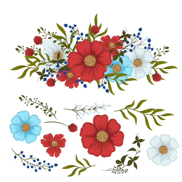 Цветочный клипарт красный, светло-голубой, белый изолированные цветы и листья Бесплатные векторы