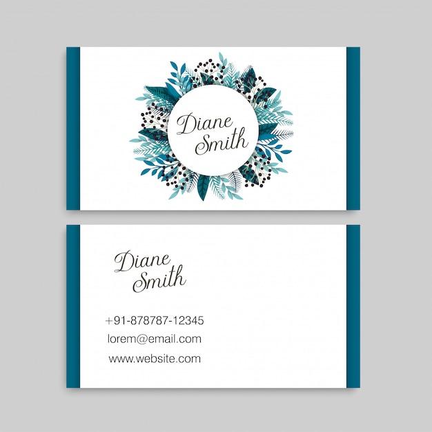 Голубые цветочные визитки Бесплатные векторы