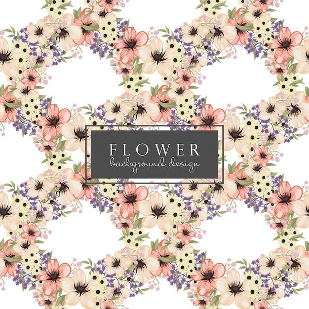 背景の花のベクトル黄色い花のシームレスパターン 無料ベクター