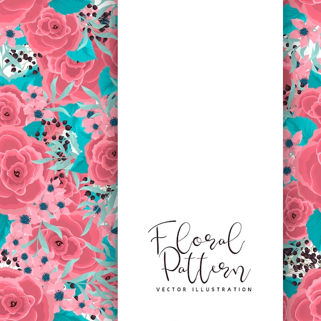 ミントグリーンの背景にピンクの花を描く花ボーダー 無料ベクター