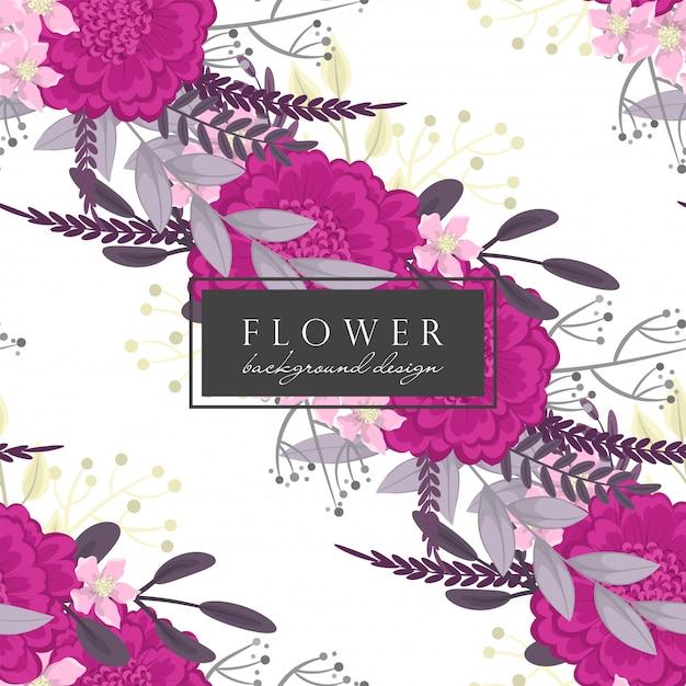背景の花のホットピンクの花のシームレスパターン 無料ベクター