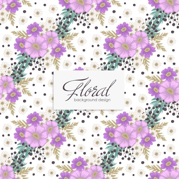 シームレスな花紫の花 Premiumベクター