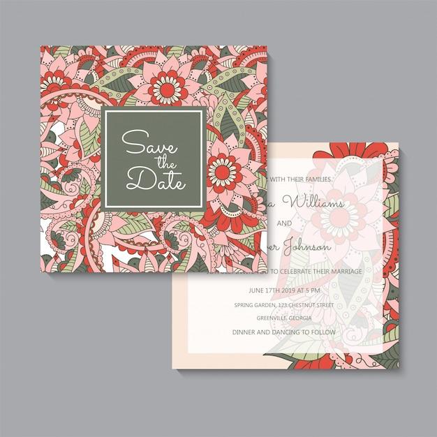 花の結婚式テンプレート赤花カードセット 無料ベクター