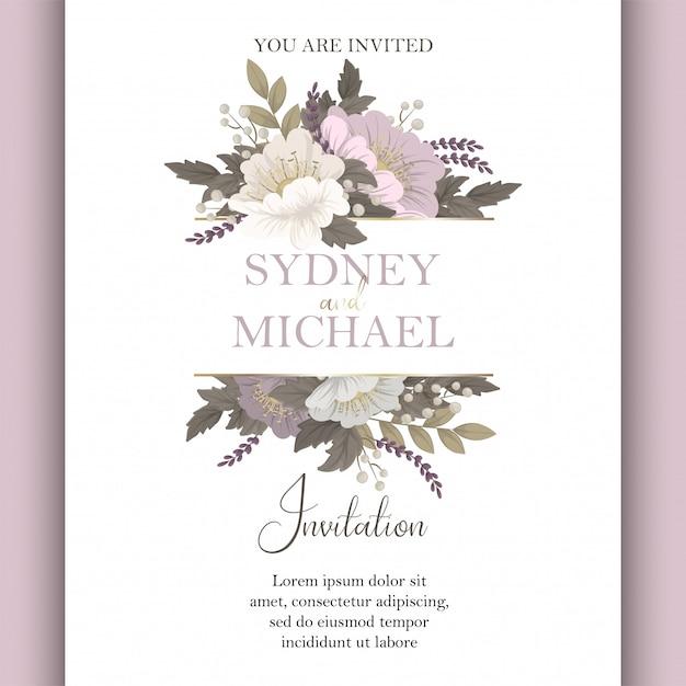 Цветочный свадебный шаблон розовая цветочная открытка Бесплатные векторы