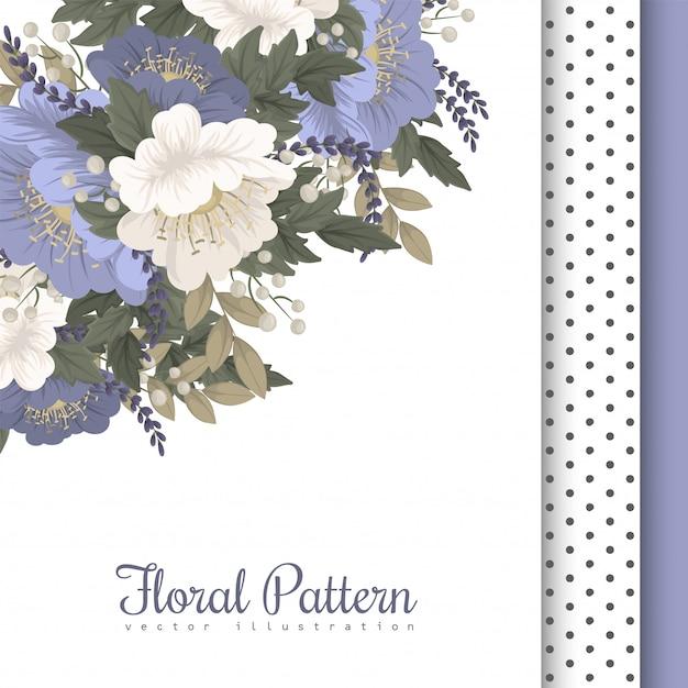 花柄ボーダーライトブルーの花 無料ベクター