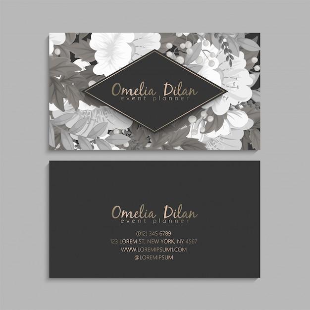 Цветочные визитки белые и черные Бесплатные векторы