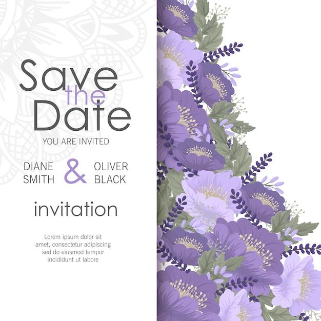Цветочный свадебный шаблон - фиолетовая цветочная открытка Бесплатные векторы