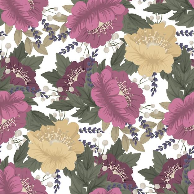 Старинный цветок бесшовный фон Бесплатные векторы