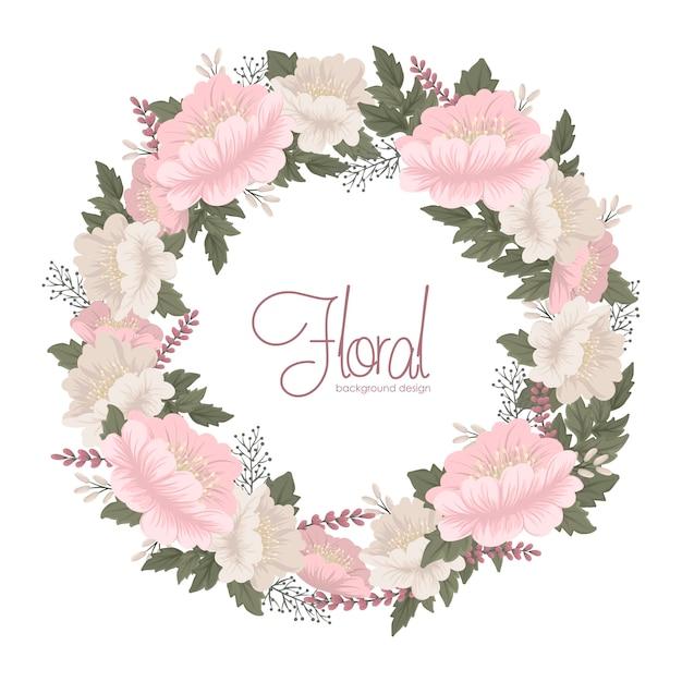 Цветочные венки, рисование розовые цветочные карты Бесплатные векторы