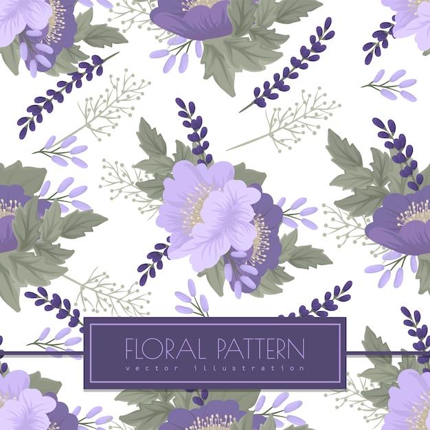 Фиолетовый цветок бесшовный узор на белом Бесплатные векторы